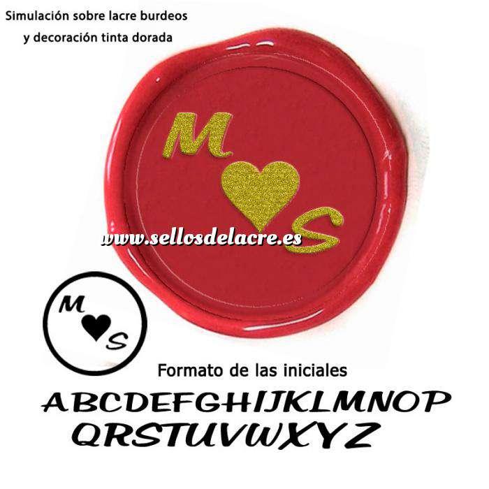 Imagen Personalizado con TU diseño Sello Lacre 2.5 cms. Corazón con iniciales