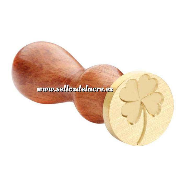 Imagen Símbolos Sello lacre mango largo - FLORES - Trebol 4 hojas (Últimas Unidades)