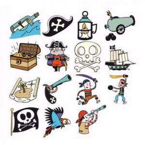 Imagen Kits Infantiles y Bautizo KIT 15 SELLOS DE CAUCHO PIRATAS (Últimas Unidades)