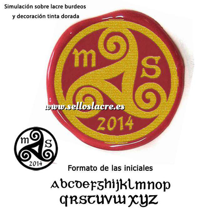 Imagen Personalizado con TU diseño Sello Lacre 3 cms. celta con iniciales