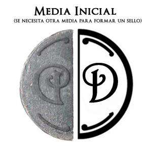 2 Iniciales Intercambiables - Placa Media Inicial D para sello vacío de lacre