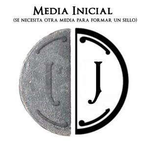 2 Iniciales Intercambiables - Placa Media Inicial J para sello vacío de lacre