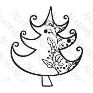 Decorativos - Sello de Caucho - Árbol con guirnalda (01351) (Últimas Unidades)