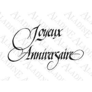 Iniciales y textos - SELLO CAUCHO JOYEUX ANNIVERSAIRE N°3 (Últimas Unidades)