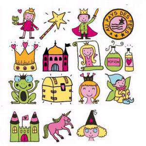Imagen Kits Infantiles y Bautizo KIT 15 SELLOS DE CAUCHO EN EL PAIS DE LAS HADAS (Últimas Unidades)