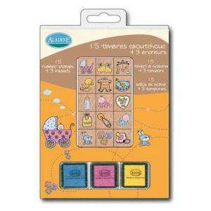 Kits Infantiles y Bautizo - Sellos bautizo. Incluye 15 diseños y 3 tampones (Últimas Unidades)