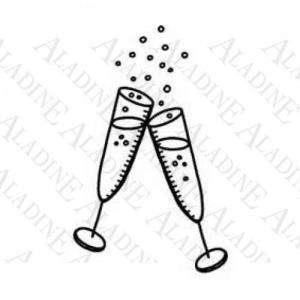Otros - Sello de Caucho - Copas de champán (01189) (Últimas Unidades)