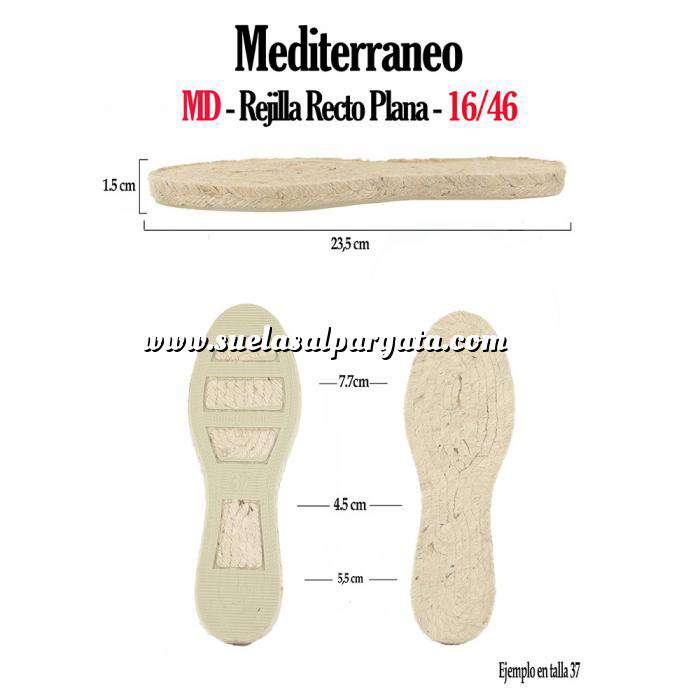 Imagen Mediterráneo MD Suela Rejilla Plana Recta Clasica T-37