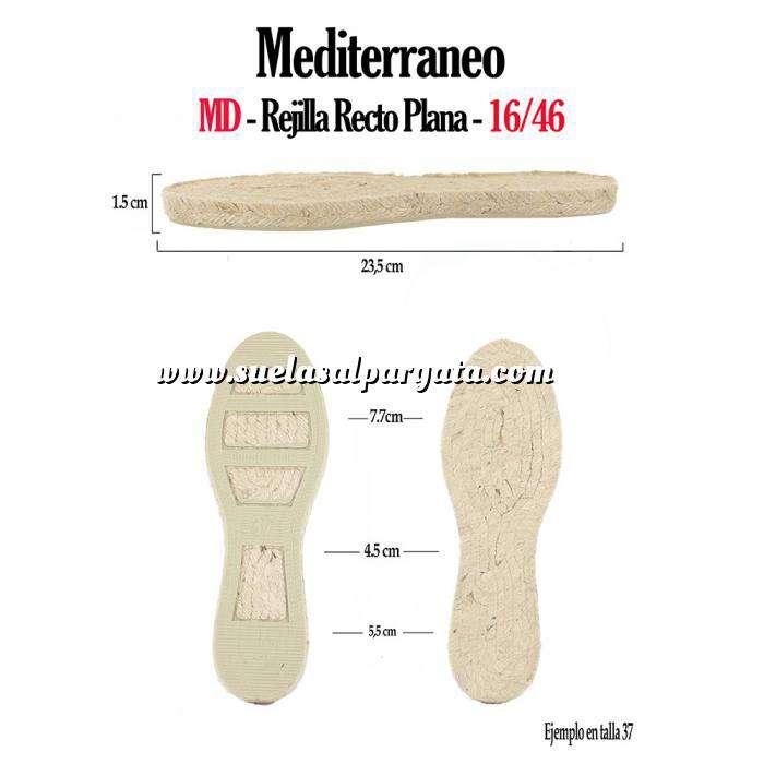 Imagen Mediterráneo MD Suela Rejilla Plana Recta Clasica T-39