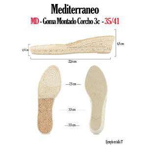 Mediterráneo - MD Suela Goma Torcida Montado Corcho 3 más 3 cm - Talla 38