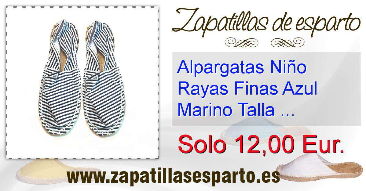 be970064e Alpargatas Niño Rayas Finas Azul Marino Talla 31