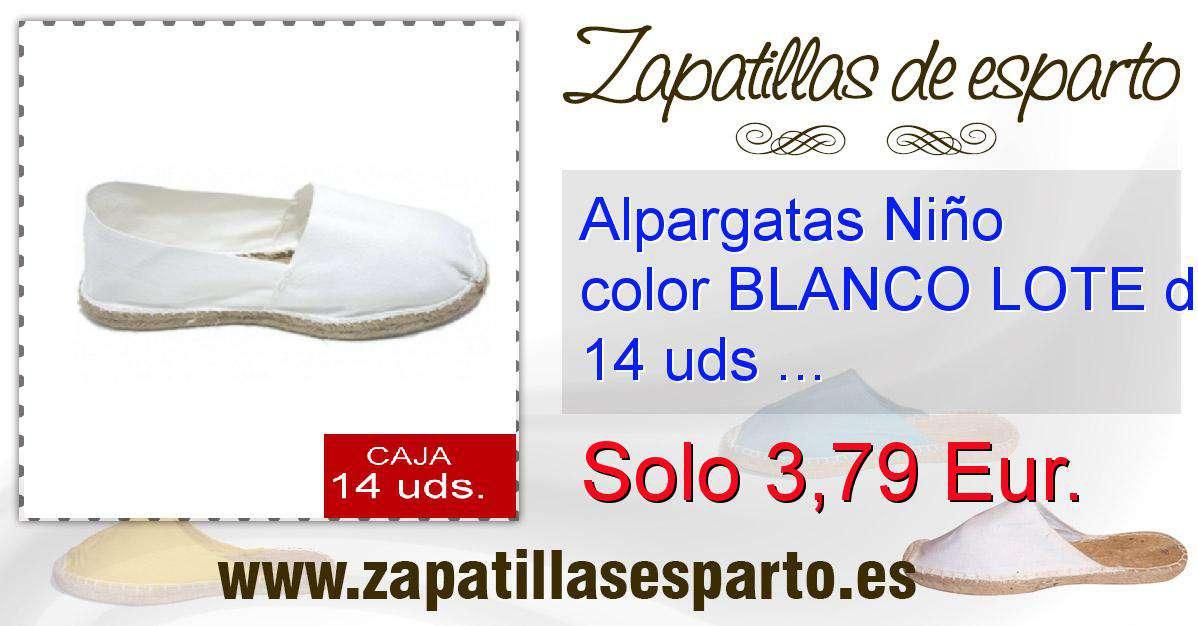 Lote 28 De 14 Udstallas Niño Blanco 34 Color Alpargatas ALj54R