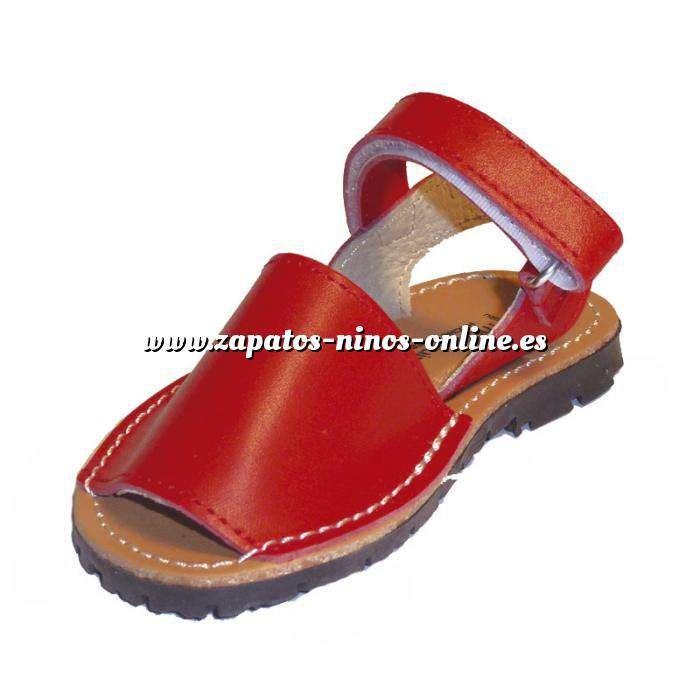 Imagen Roja Avarca - Menorquina piel niño Roja Talla 20