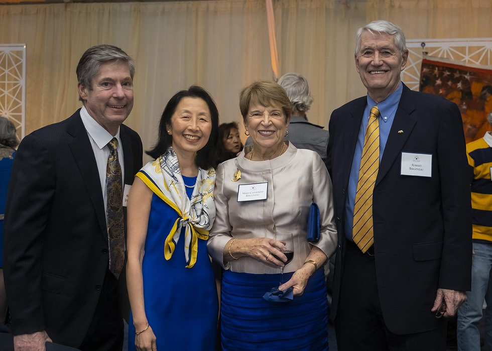 Photo of Chancellor Emeritus Robert Birgeneau, his wife Mary Catherine, and two other guests smiling into the camera