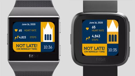 Berkeley branded FitBit watch faces