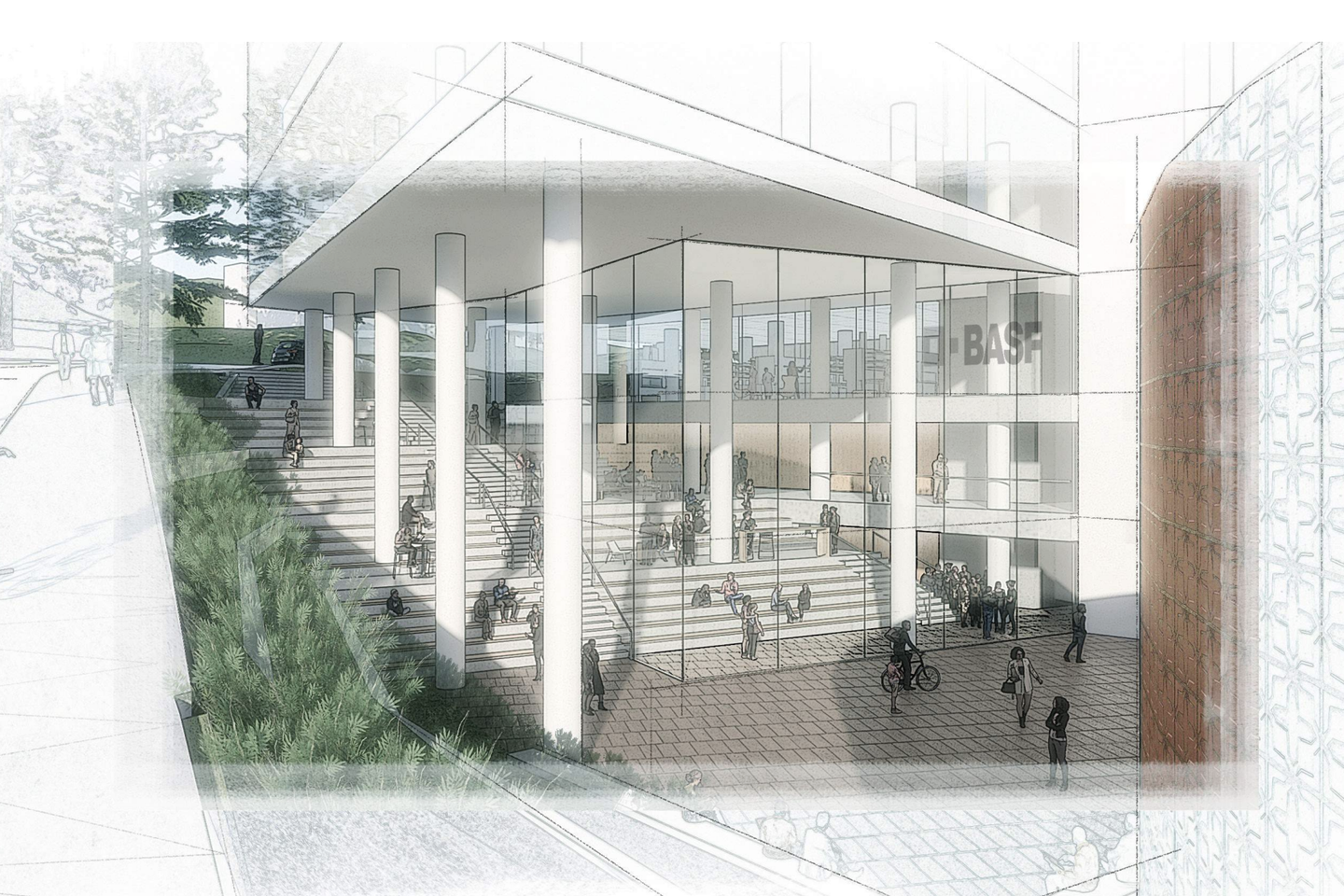 Architect's rendering of the entrance to Heathcock Hall