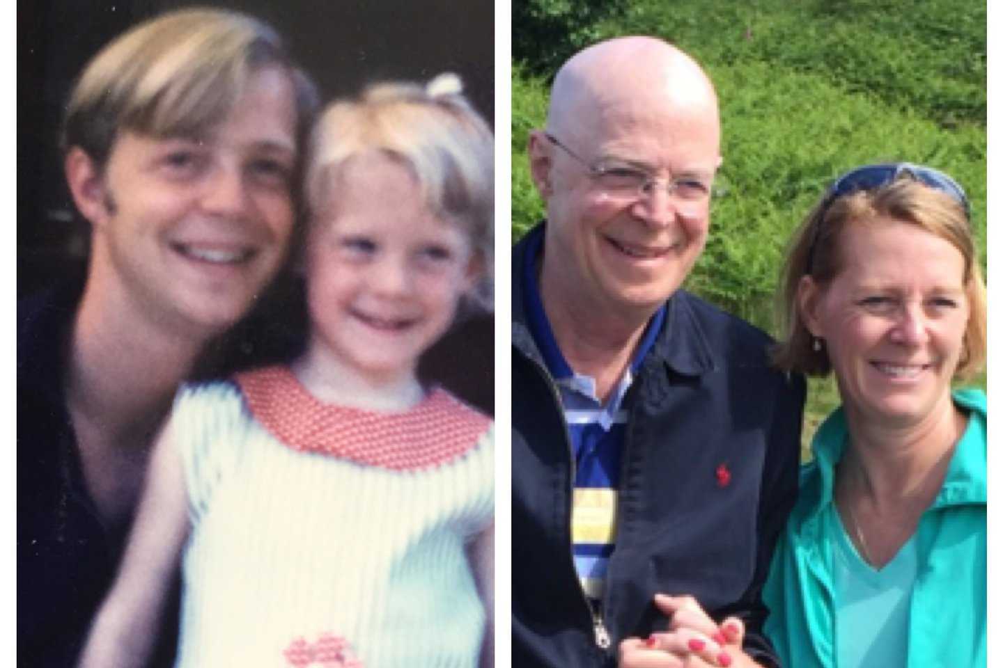 Photo of Richard Harms as a young man and father with his daughter (left), and more recently with his wife (right).