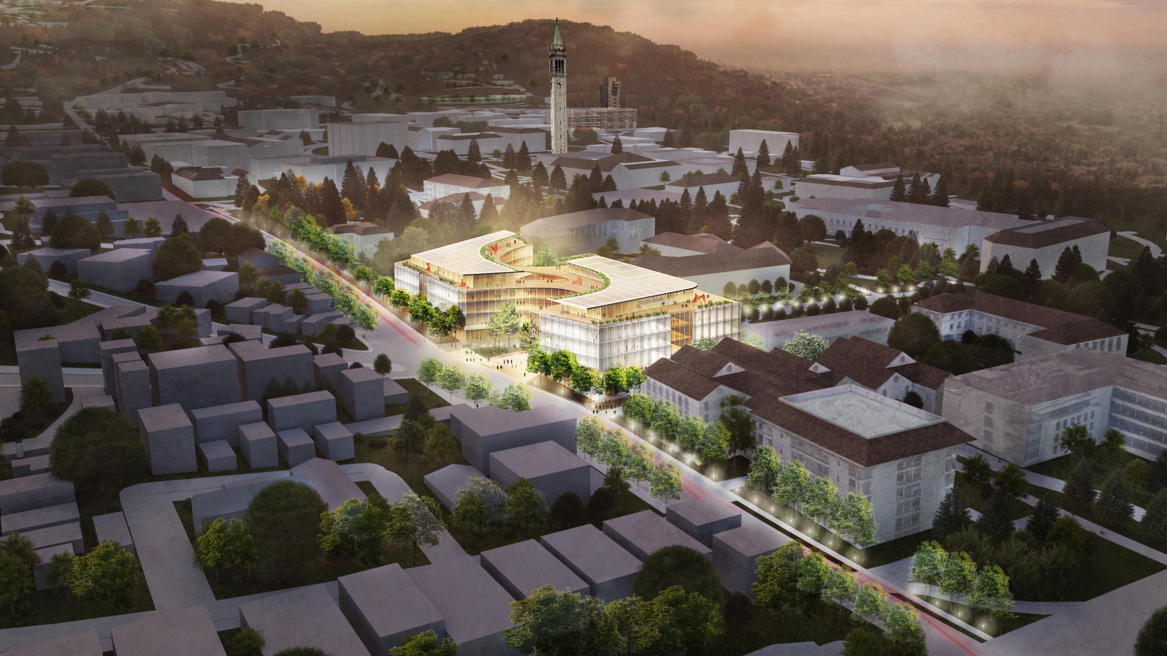 Rendering of the Gateway from above, showing the outline of the building illuminated and the surrounding buildings grayed out.