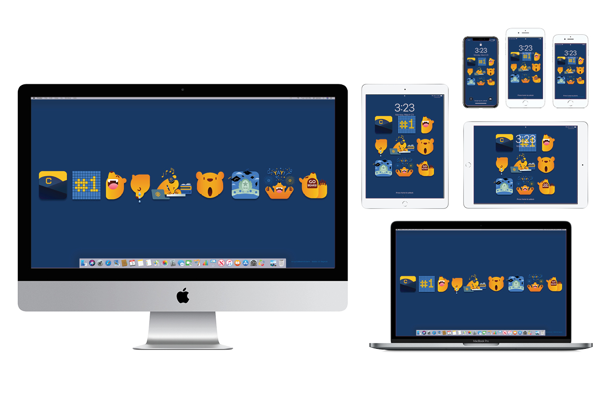 Wallpaper with cute Cal-themed animated characters