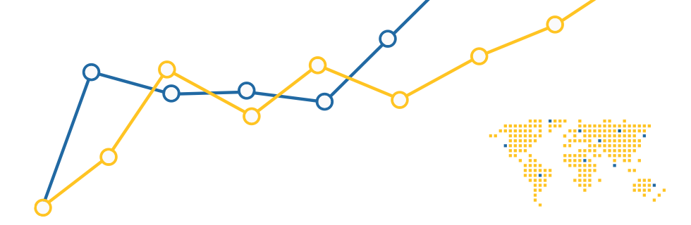 Illustration of  a line graph and map.