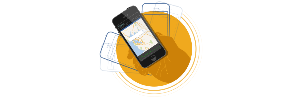 Illustration of a hand holding a phone showing the app.