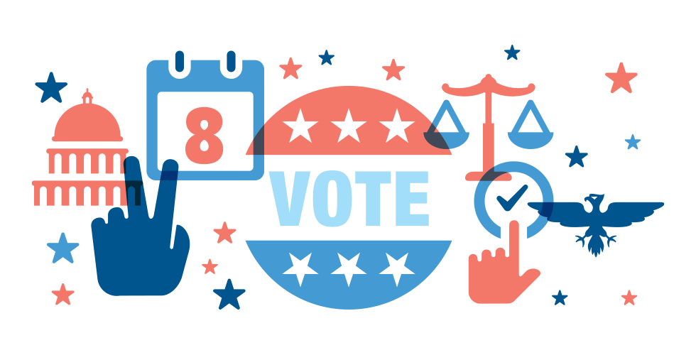 An illustration of a vote button, capitol building, eagle, and other symbols of U.S. democracy.