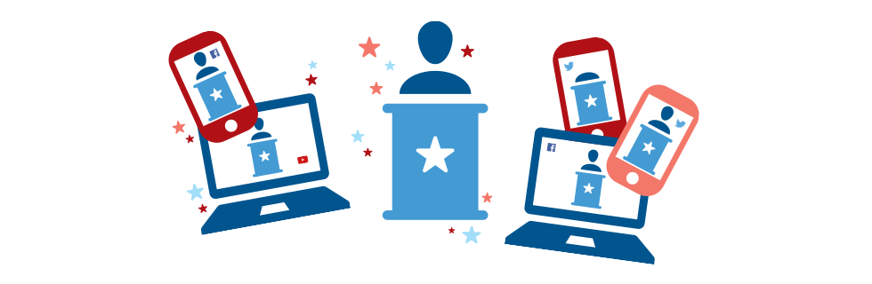 Illustration of phones and laptops showing a politician behind a podium.