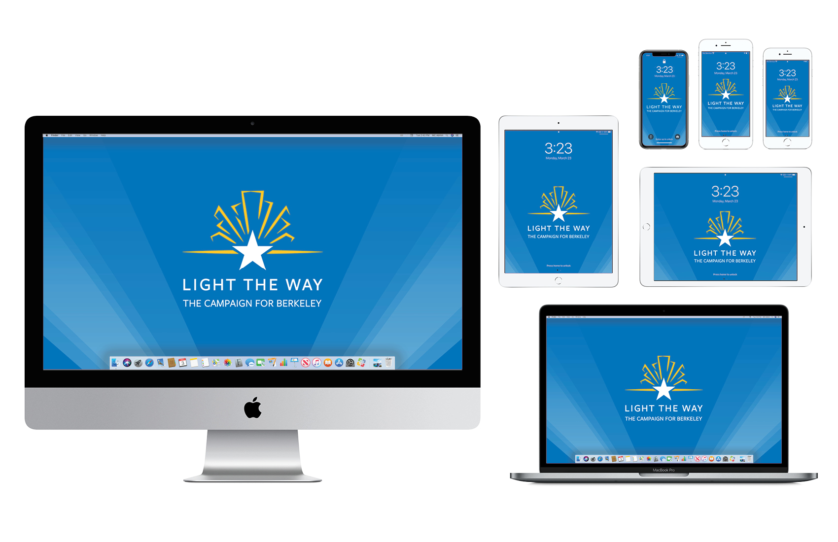 Wallpaper with Light the Way campaign logo on blue background
