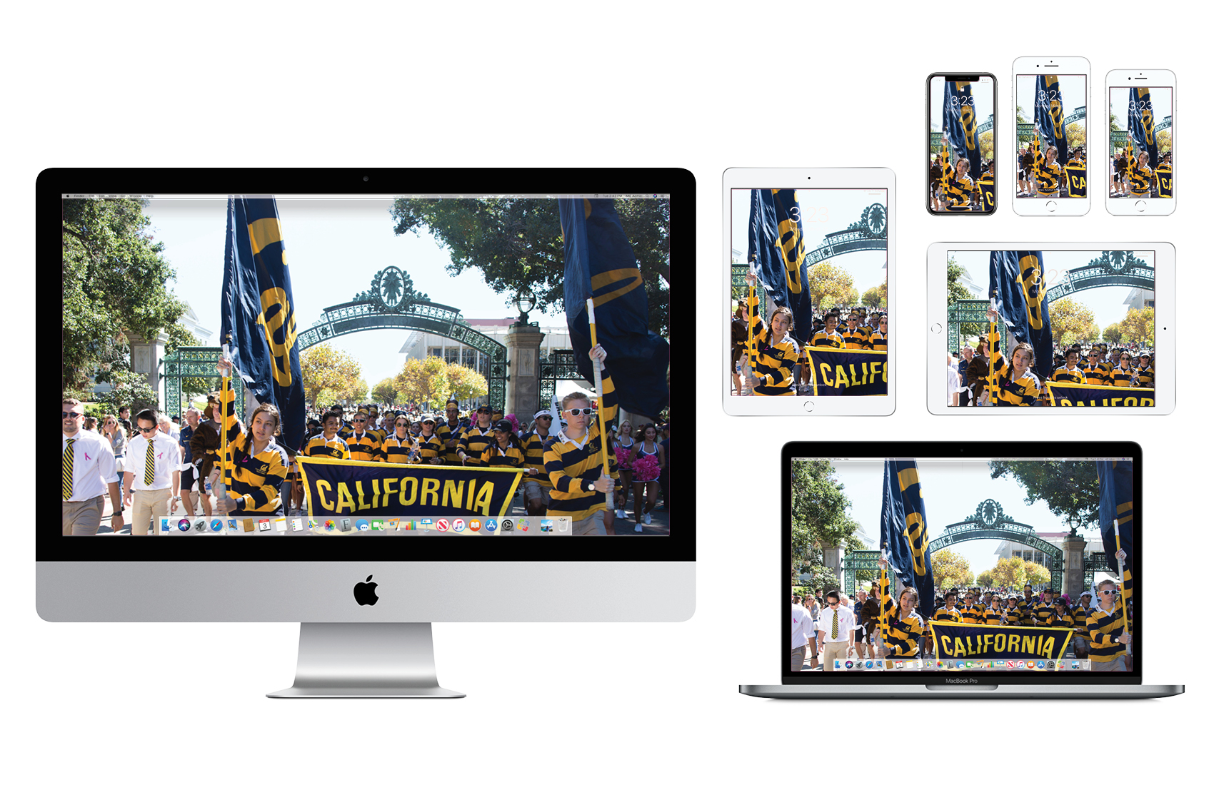 Wallpaper with parade of Cal Students in blue and gold marching through Sproul Plaza