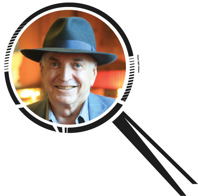Photo of Willie Gordon '59 inside an illustration of a magnifying glass.