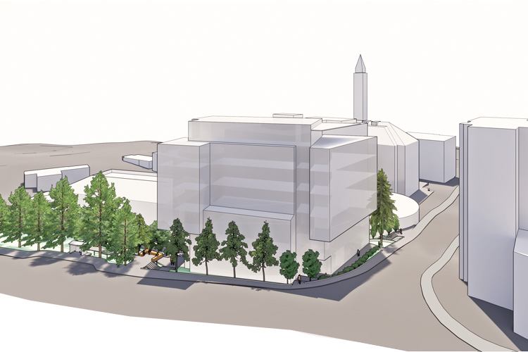 Architectural rendering as seen from farther away, with trees in the foreground