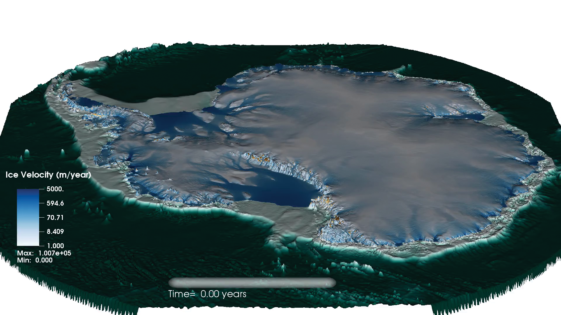 A computer model of Antartica showing how ice is flowing and changing over time.