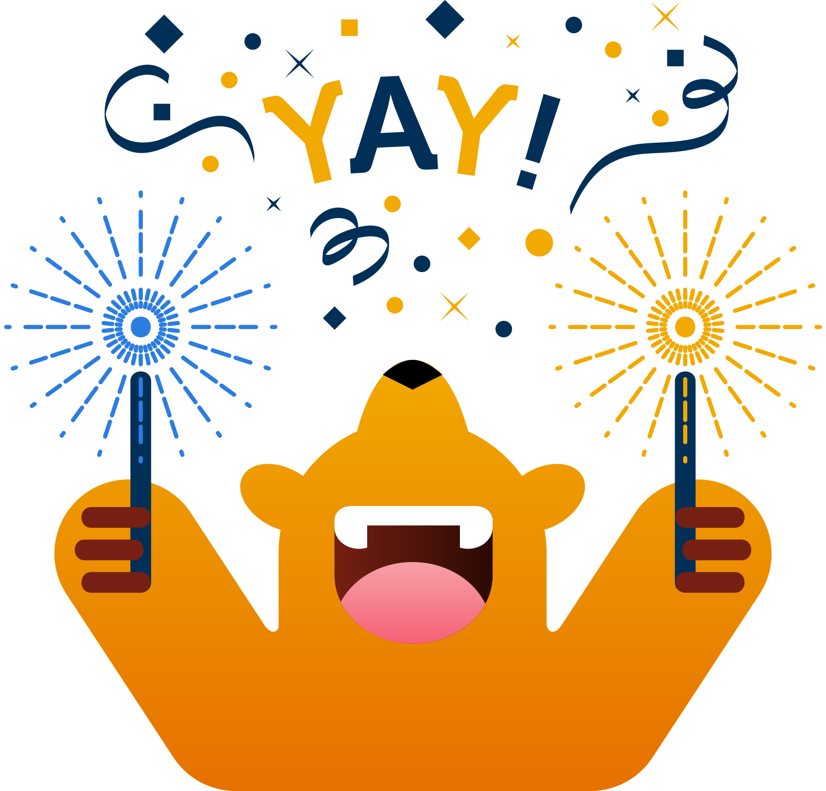 Emoji of a bear holding sparklers with a festive