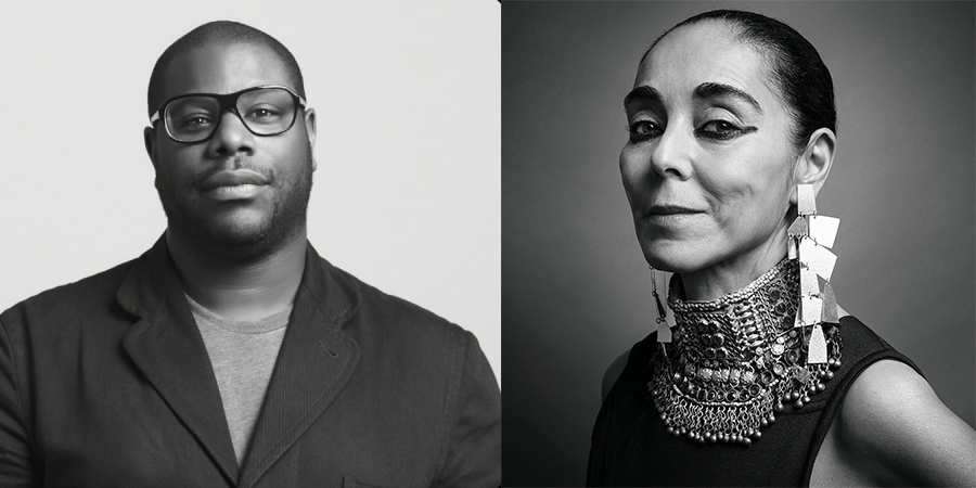 Black and white photos of Steve, a Black man wearing a T-shirt and blazer, and Shirin, an Iranian woman wearing a traditional silver beaded necklace and geometric dangling earrings.