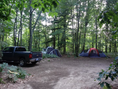 Lots of space, 2 large tents and a full-size truck with room to play games, Group Tent Site