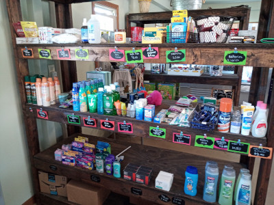 Camp store goods, medicine, shampoo and conditioner, soap, cheap cost