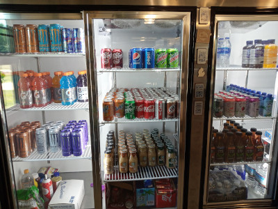 cold drinks, energy drinks, cold coffee drinks, juice, tea, water, soda pop, cheese, butter, fruit