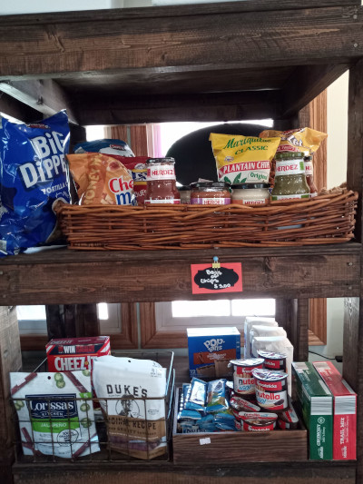 campground shop, chips, dips, jerky, pop tarts, snacks, crackers, food, breakfast