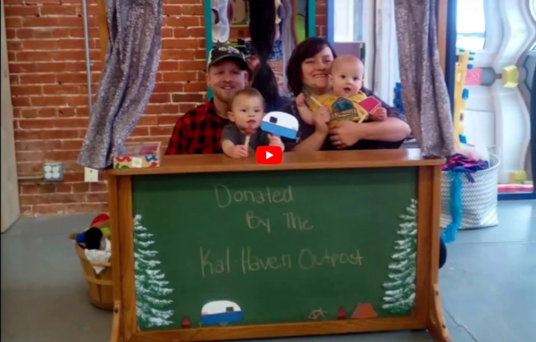 Kal-Haven Outpost & donated these custom puppets & stage to Forever Curious Children's Museum.