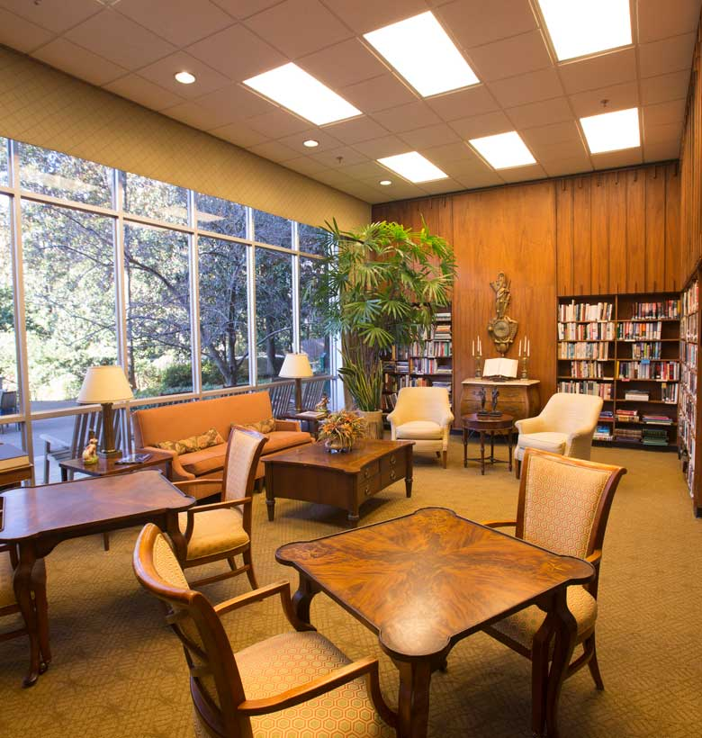 Library inside Canterbury Court retirement community