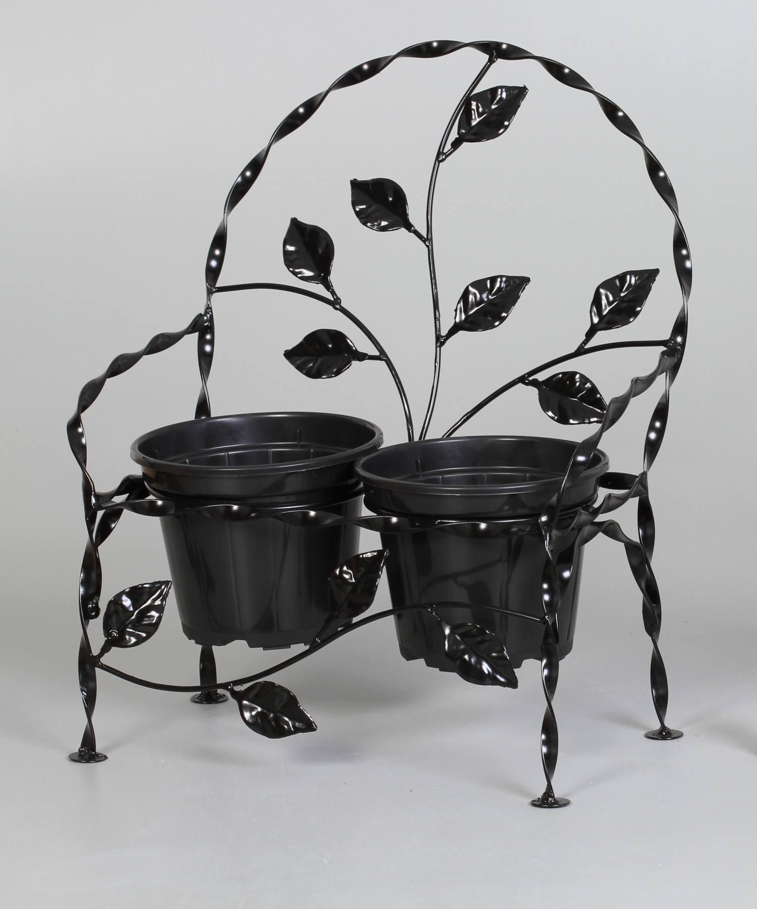 2 Suportes Cachepot Cadeirinha Folhas Ferro preto (inclui Cachepot)