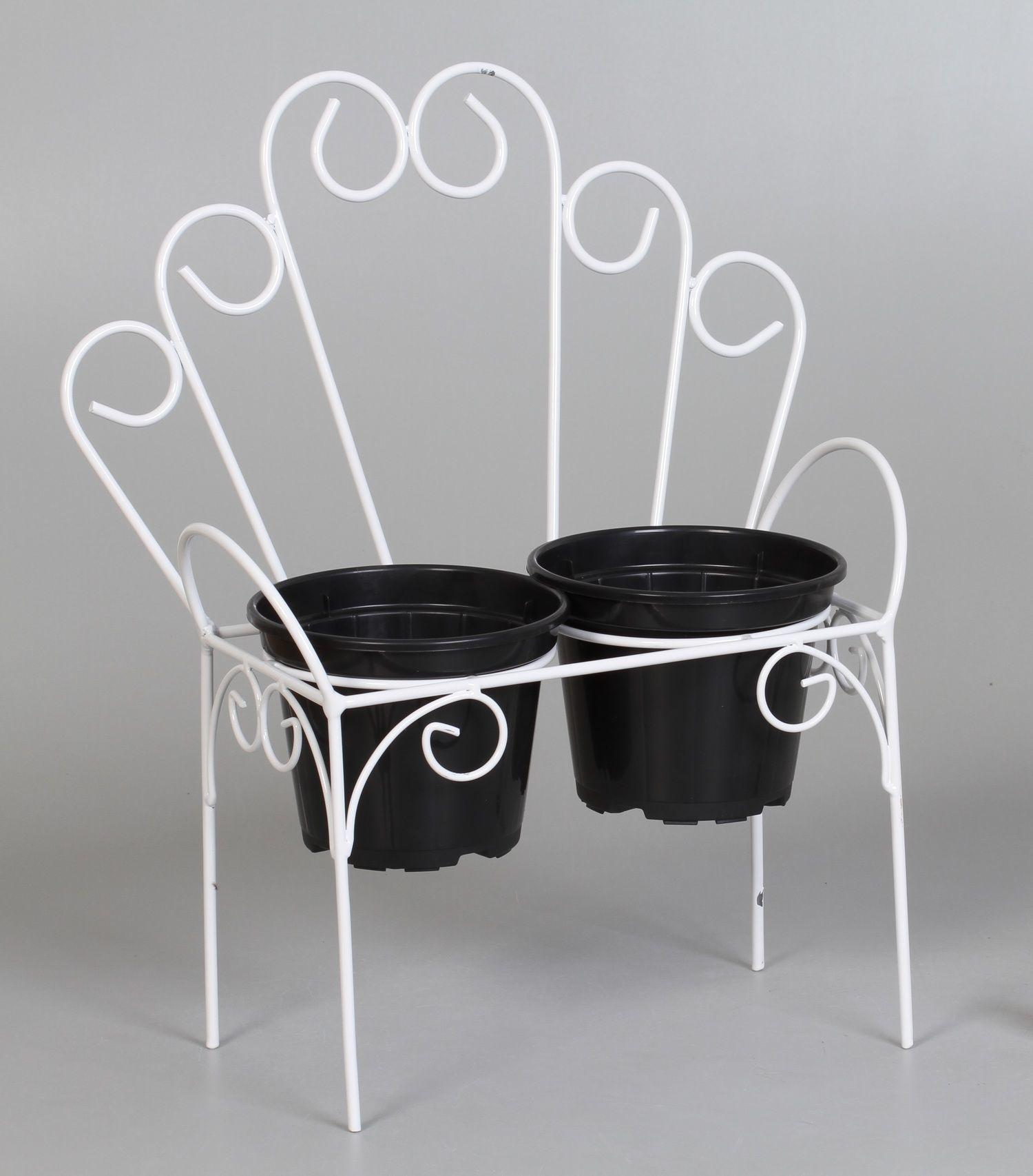 2 suportes cachepots cadeirinha arcos branco (inclui cachepots)