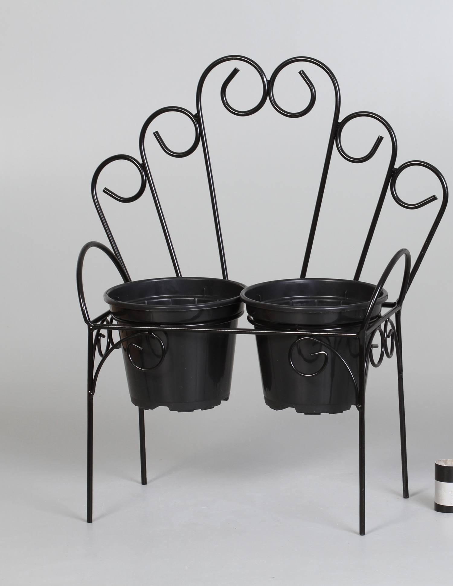 2 suportes cachepots cadeirinha arcos preto (inclui cachepots)