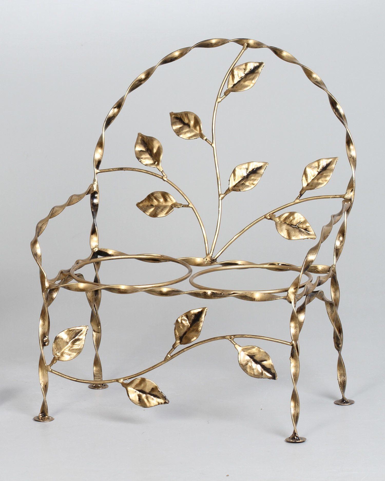 2 suportes cachepots cadeirinha folhas ouro velho (inclui cachepots)