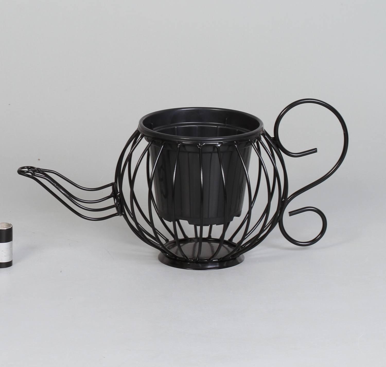 2 suportes cachepots chaleira preto (inclui cachepots)