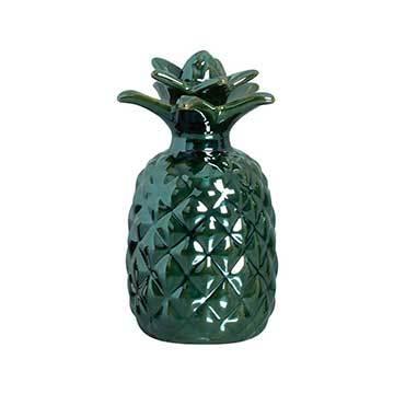 Abacaxi Decorativo Em Cerâmica Na Verde Metalizado 19 x 9,5 cm