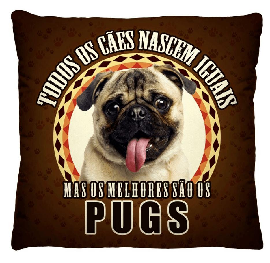 Almofada Decorativa Estampada Pug