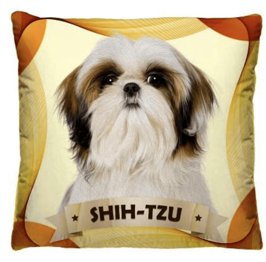 Almofada Decorativa Estampada Shitzu Fundo Amarelo