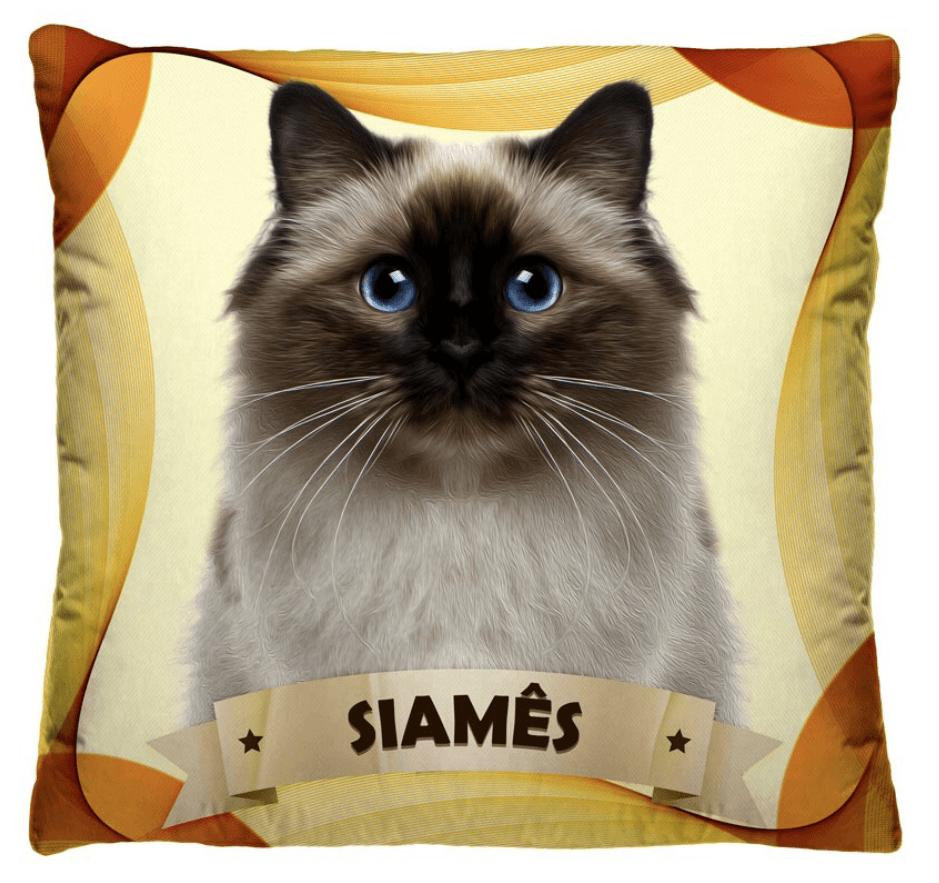 Almofada Decorativa Estampada Gato Siames