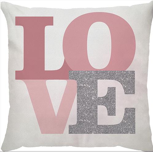 Almofada decorativa LOVE (rosa) com enchimento